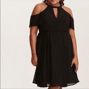 Torrid Black Chiffon Cold Shoulder Cocktail Dress